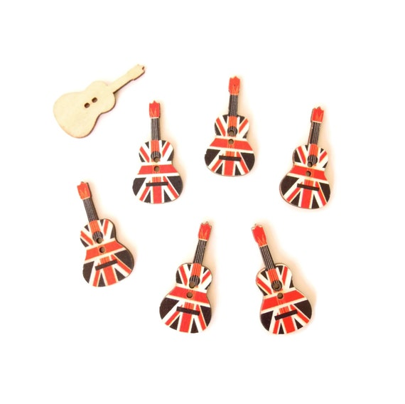 10 Union Jack Guitar Buttons - British Flag Guitar Buttons - UK Flag Guitar Buttons - British Music Theme Table Confetti - UK Buttons