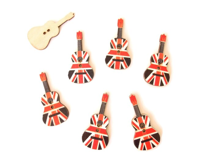 10 Union Jack Guitar Buttons, British Flag Guitar Buttons, UK Flag Guitar Buttons, British Music Theme Table Confetti, Buttons