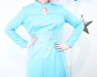 1960s 70s Long Aqua Blue Maxi Dress with Embroidered Empire Waist and Keyhole, Bridesmaid Gown, 70s Bridesmaid Dresses, Aqua Gown, Vintage