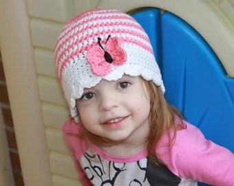 Cotton Cloche Hat - Crochet Cotton Summer Hat - Stripe Butterfly Hat - Sun Hat - Baby Summer Hat - Girls Butterfly Hat - Beachwear - Spring