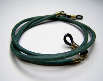 Antique Turquoise Eyeglass Chain, Custom Length 24-36 Inch Leather Chain for Glasses, by Eyewearglamour