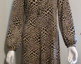 "Kiva Ltd. 70's Dress Leopard Print with Long Puffy Sleeves Bust 38"" Waist 34"" True Vintage"