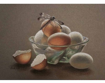 """Original Pastel Painting with eggs & dragonfly """"Morning"""""""