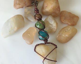 Quartz Lake Tahoe Beach Pebble Wire Wrapped  Pendant Necklace