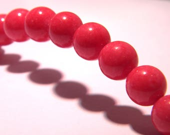 10 jade beads 10 mm bright red - gem stone - 6 PG299