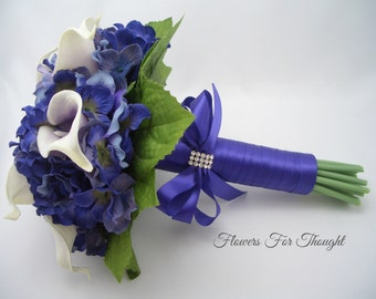 Calla Lily Bouquet Purple Real Touch, Picasso Calla and Hydrangea Wedding Flowers, Bride or Bridesmaid bouquet