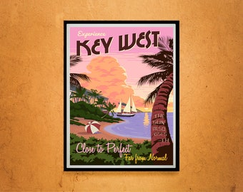 Reprint of a Vintage Travel Poster to Key West Florida