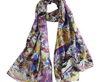 Cotton Silk Oblong Scarf, Floral Print Cotton Silk Scarf, Multi-Colored Cotton Silk Scarf, Mother's Day Gift