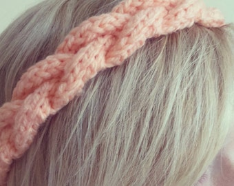Chunky handknit braided cable headband