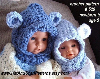 hat pattern, CROCHET PATTERN, Baby Bear Hood Hat, Patterns for babies, kids, newborn to age 5, toddlers, kids, child, children,  #529