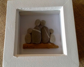 Pebble art, Pebble picture family of four