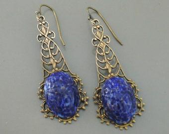 Vintage Earrings - Egyptian Earrings - Scarab Earrings - Lapis Blue Earrings - Handmade Jewelry
