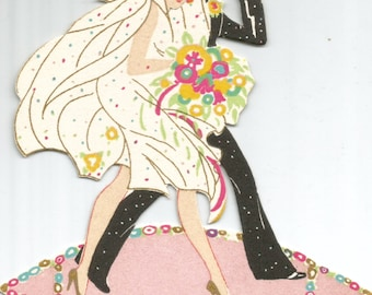 Vintage Art Deco flapper wedding bride and groom bridge tally