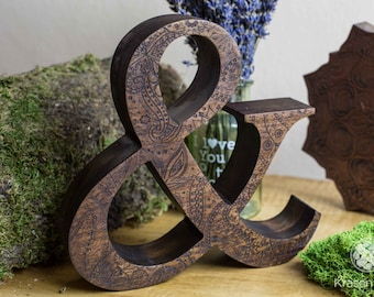 Engraved wooden letters of natural walnut wood, Personalized wooden letters, free standing letters, Wedding letters, Custom letters