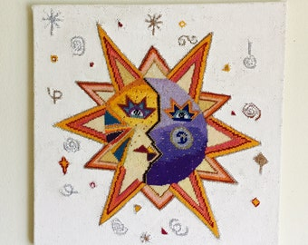 Needlepoint Stylized Sun and Moon Wallhanging