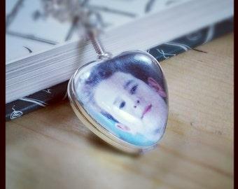 Heart Locket Sterling Necklace - Heirloom Glass Photo Locket