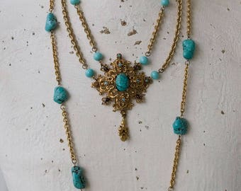 Turquoise Brass Necklace