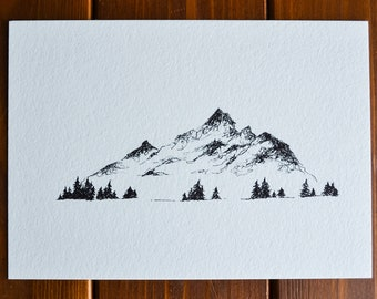 Mountain Landscape Pen and Ink Drawing or Postcard