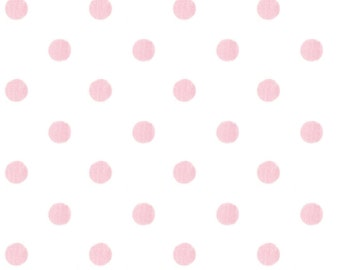 White and Pink Polka Dot Organic Fabric - By The Yard - Girl / Modern / Fabric