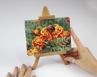 """Easel Art   """"Summer Riot""""   Bumblebees Swarm the Marigolds   Canvas Print on Stand   Wall Art   Tabletop Display   Holiday Gift   Wall Art"""