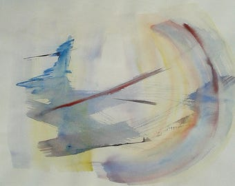 """Moon Through Clouds. Original abstract painting, large watercolor 14""""x22"""" Red, blue, pastel yellow. Brushstrokes. Fine art Living room decor"""