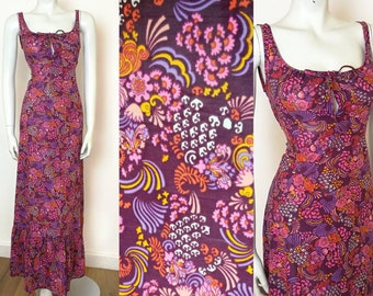 Vintage 60s Purple Summer Psychedelic Peter Max Style Print Maxi Dress UK 8