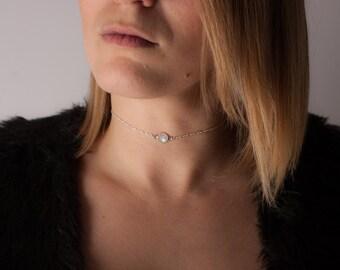 silver rainbow moonstone talisman choker, rainbow moonstone choker necklace, gypsy choker, gypsy jewelry, silver gemstone choker