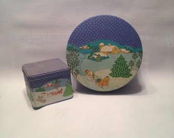 Country Christmas in the Snow Tin Set
