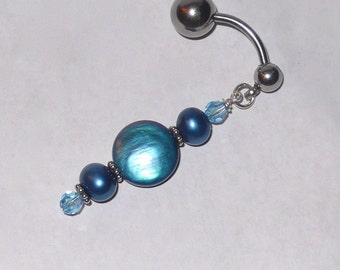 Peacock Blue pearl Reverse dangle Belly Ring