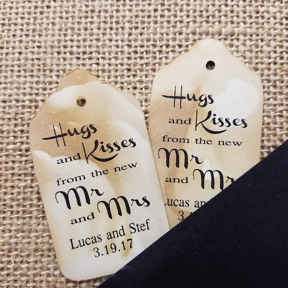Hugs and Kisses from the new mr and mrs MEDIUM Personalized Wedding Favor Tag CHOOSE your amount