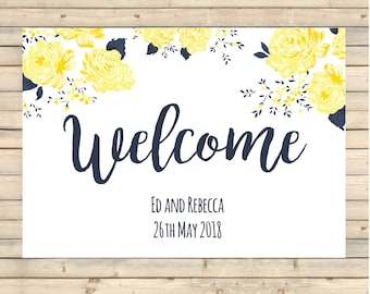 Wedding Welcome Sign, Wedding Stationery, autumn wedding stationery