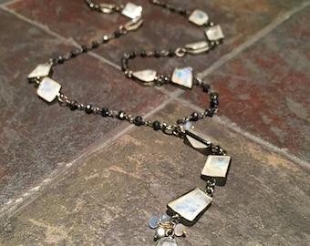 Rainbow Moonstone bezel set gem chain necklace