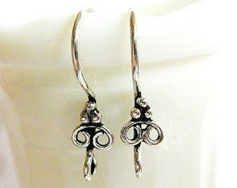 Sterling Silver Earwires with 3 Ball and Double Loop Accent
