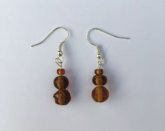Brown stacked bead earrings
