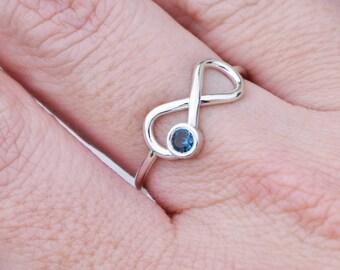 London Blue Ring, December Birthstone Ring, Promise Ring, Infinity Ring, Genuine Topaz Ring, Blue Gemstone Ring, Gift For Her
