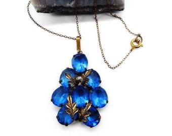 Vintage 1930s antiqued brass sapphire blue Czech Glass signed pendant necklace