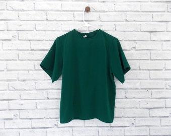 EMERALD DREAM - Dark Green Blouse | Jack Mulqueen Brand | Size Medium | Green Blouse | Short Sleeve Blouse | Polyester | Emerald Blouse