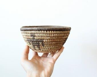 Vintage Coiled Basket | Coiled Rope Basket | African Basket | Coiled Rope Bowl | Catchall Bowl | Handmade Basket African | Valentine's Gift