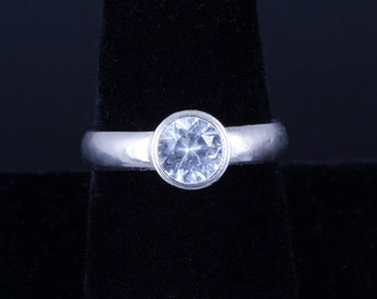 Lab Created White Sapphire 6mm Round Bezel Sterling Silver Ring