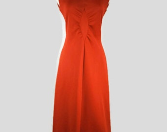 Vintage 1970's Red Polyester Maxi Dress by Bleeker Street, A Division of Jonathan Logan, Inc.