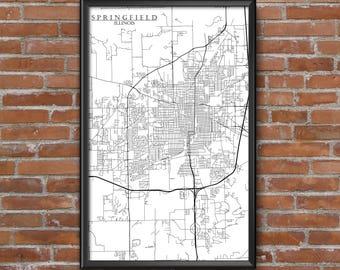 Springfield, Illinois Map Art