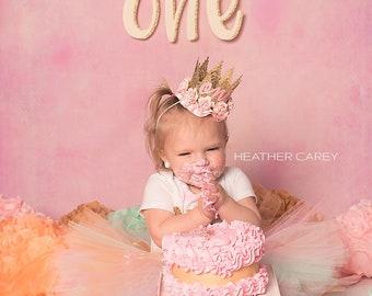 Baby Girl 1st Birthday Outfit   Baby Tutu   Tutu Dress   Birthday Dress   Baby Girls Cake Smash Outfits   Peach Birthday Tutu