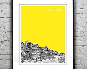 New Jersey Shore Poster Print Art  NJ Skyline Jersey Shore Version 2