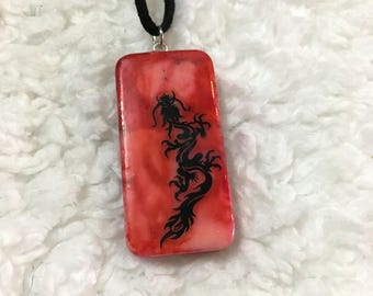 Painted Chinese Dragon Domino Necklace