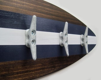 Surfboard Coatrack with Boat Cleats in Navy Blue, Dark Stain and White - Choose your Size
