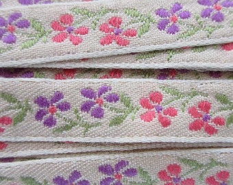 3 Yards Floral Trim Jacquard Ribbon Beige With Peach And Purple Flowers  VT 136