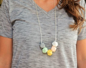 Hexagon Silicone Teething Necklace for Mommy- BPA Free- Bite Beads Nursing Jewelry- Teether Beads- Chew Jewelry- Bitty Bites- Baby Shower