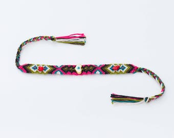 Love&Friendship Bracelet, Heart Charm Bracelet, Hippie Bracelet, Colourful Bracelet, Woven Bracelet, Valentine's Day Gift, Gift Under 20