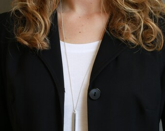 Long Necklace Long Silver Necklace Sterling Necklace Jewelry Layers Necklace Layering Necklaces Simple Necklace Modern Necklace on Sterling