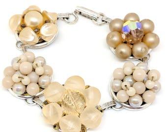 Peach Bracelet, Recycled Bracelet, Beige Bracelet, Upcycled  Bracelet, Recycled Bracelet, Earring Bracelet, Pantone Iced Coffee, Greige
